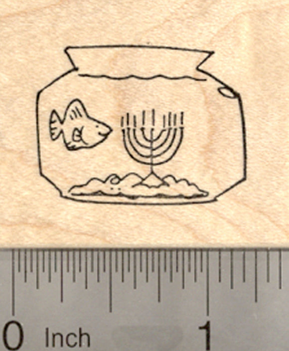 Hanukkah Fish Bowl Rubber Stamp, with Menorah