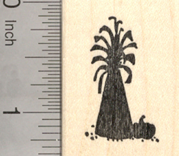 Thanksgiving Silhouette Rubber Stamp, with Corn Stalks and Pumpkin