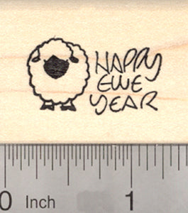 Happy New Year Ewe Rubber Stamp, Valais Blacknose Sheep