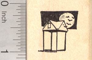 Small Bat House Rubber Stamp, with Full Moon and Bats