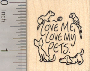 Love My Pets Rubber Stamp, Ferret, Parrot, Cat, Dog