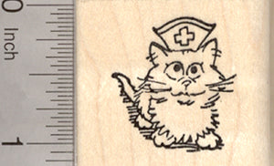 Get Well Cat Rubber Stamp, Kitten Nurse