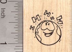 Earth with Satellites Rubber Stamp, Geocaching