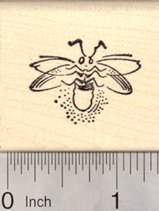 Firefly Rubber Stamp, Lightning Bug, Glowing in Flight