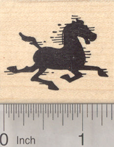 Horse Silhouette Rubber Stamp, Mustang