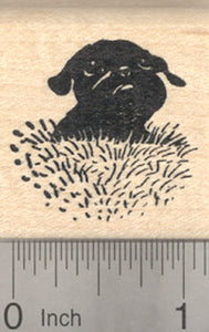 Black Pug Rubber Stamp, Dog in Grass