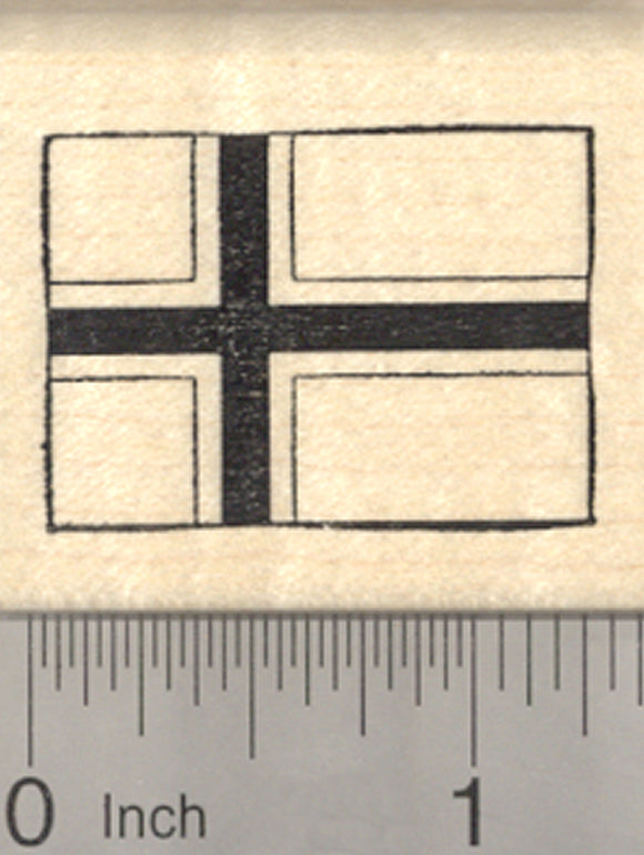 Flag of Norway Rubber Stamp, Scandinavian cross outlined in white