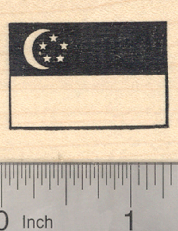 Flag of Republic of Singapore Rubber Stamp, Southeast Asia