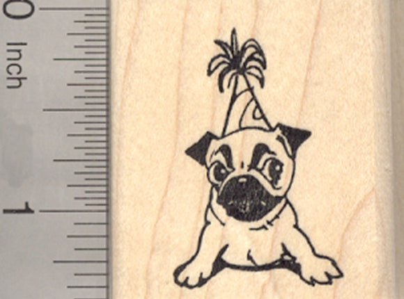 Birthday Pug Rubber Stamp, Party Dog