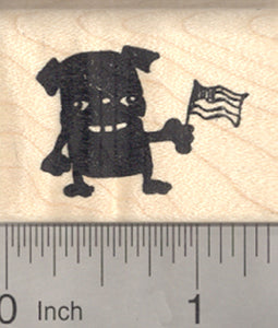 4th of July Pug Rubber Stamp, Black Dog with American Flag