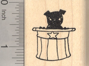 4th of July Pug Rubber Stamp, Black Dog with Uncle Sam Hat
