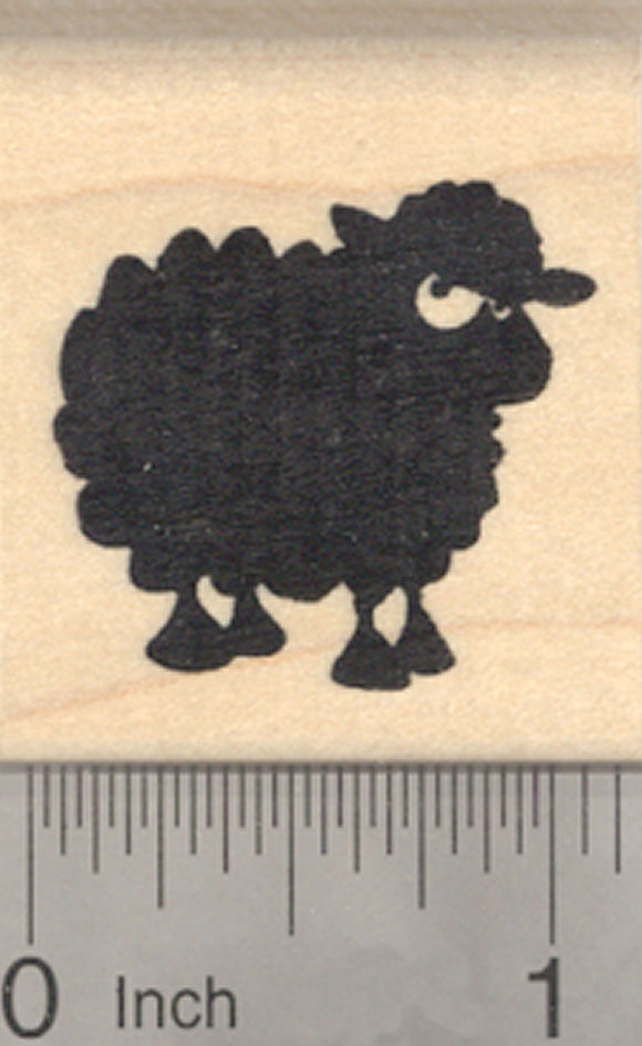 Black Sheep Rubber Stamp, Lamb Silhouette
