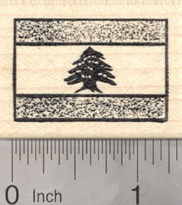 Flag of Lebanon Rubber Stamp, Spanish Fess, Green Lebanon Cedar