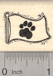 Paw Print Flag Rubber Stamp, Dog, Cat, Pet