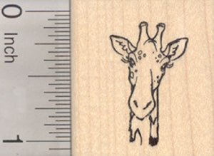 Giraffe Rubber Stamp, African Wildlife Portrait, Small