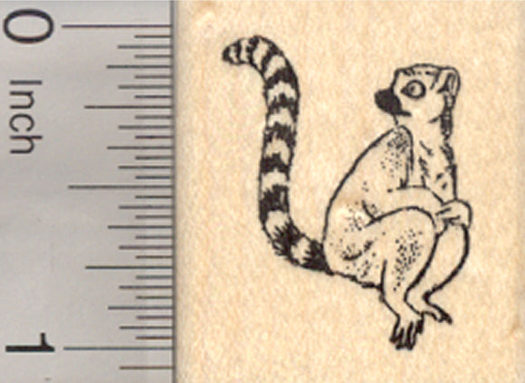 Ringtailed Lemur Rubber Stamp, Madagascar Primate, Small