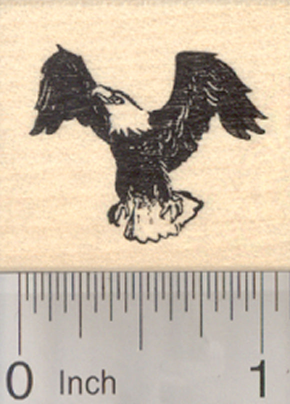 Bald American Eagle Rubber Stamp, (fourth of July, July 4th), Small