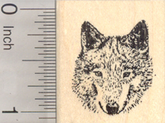 Gray Wolf Rubber Stamp, Timber, Western Wolves, Small