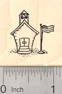 Tiny Schoolhouse Rubber Stamp, One Room School with Flag and Bell