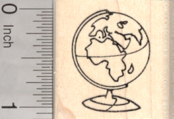 Globe Rubber Stamp, Three-dimensional Scale Model of Earth, Geography