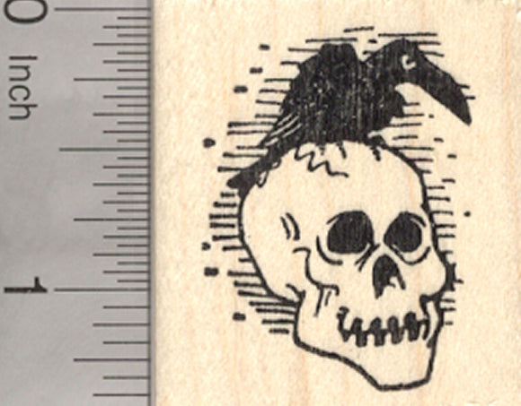 Halloween Raven on Skull Rubber Stamp, Crow, Day of the Dead, Día de los Muertos, Black Bird
