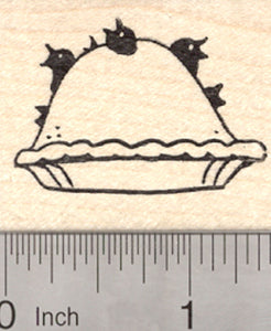 Blackbirds Baked into a Pie Rubber Stamp, Eat Crow, Ravens Nursery Rhyme