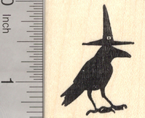 Halloween Raven Rubber Stamp, Witch Hat Crow Blackbird