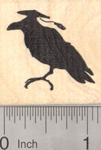 Graduation Crow Rubber Stamp, Mortarboard Hat on Raven, Blackbird