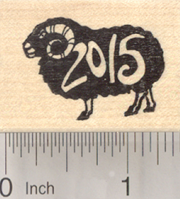 Chinese Zodiac Rubber Stamp 2015 New Year, of the Sheep or Ram, Shengxiao, Black