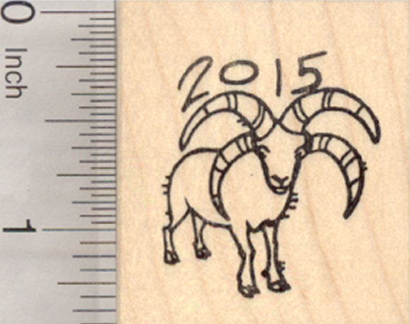 Chinese Zodiac Rubber Stamp 2015 New Year, of the Sheep or Ram, Shengxiao, Jacob Four Horn
