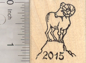 Chinese Zodiac Rubber Stamp 2015 New Year, of the Sheep or Ram, Shengxiao, Mountain