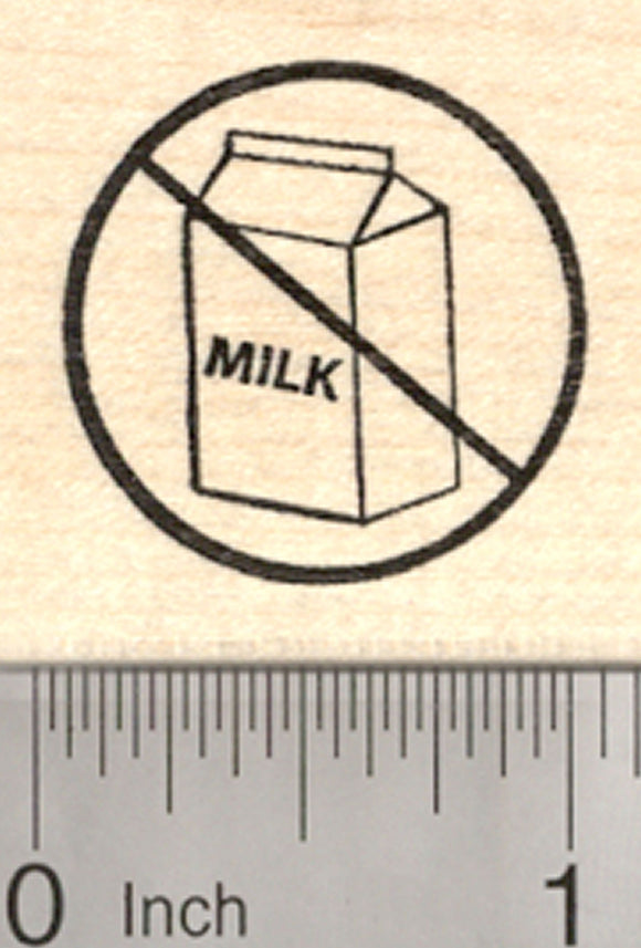 Dairy Free Rubber Stamp, Menu Symbol, Universal No Sign with Milk Carton