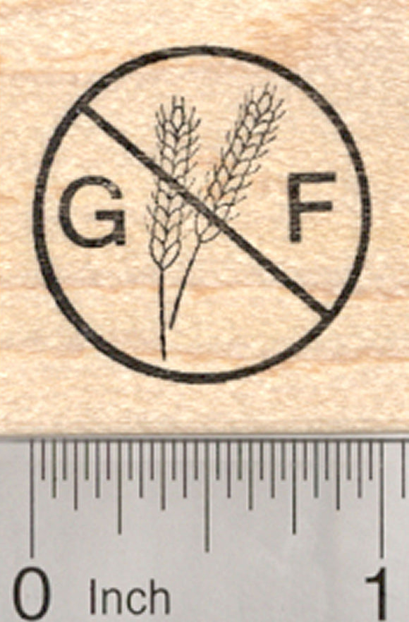 Gluten Free Rubber Stamp, Menu Symbol, Celiac Disease