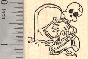 Skeleton Rubber Stamp, Playing Jazz Saxophone from his Grave, Day of the Dead, Halloween, Día de Muertos