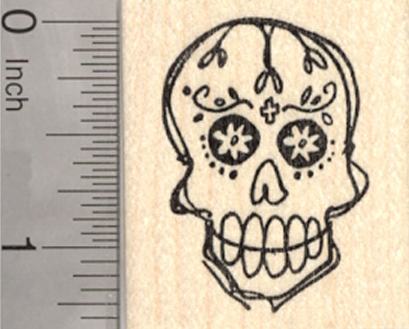 Sugar Skull Rubber Stamp, Calavera, Day of the Dead, Halloween, Día de Muertos