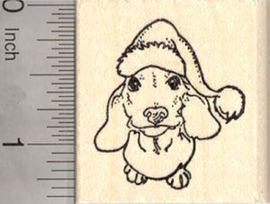 Christmas Dachshund Rubber Stamp, Wiener Dog with Santa Hat