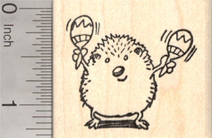 Hedgehog playing Maracas Rubber Stamp, Latin American Percussion, Rumba Shakers, Mariachi Music