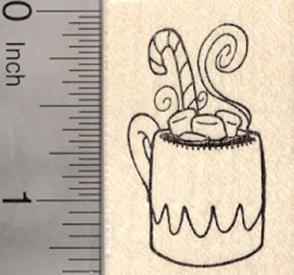 Holiday Hot Chocolate Rubber Stamp, Mug with Candy Cane and Marshmallows