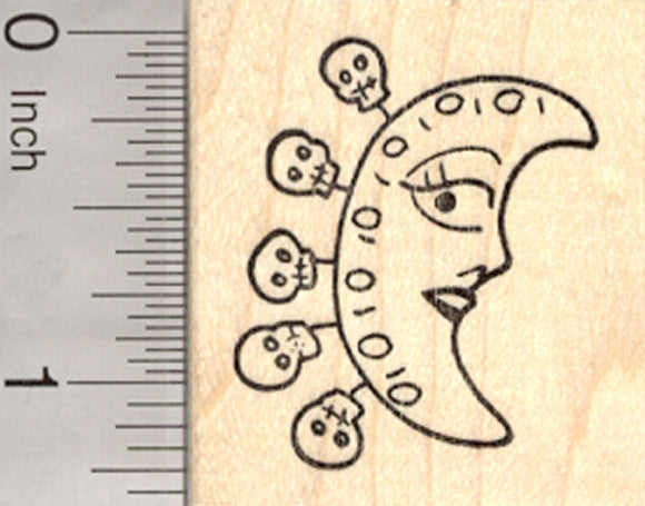 Day of the Dead Moon Rubber Stamp, with Skull Charms, Dia de Muertos