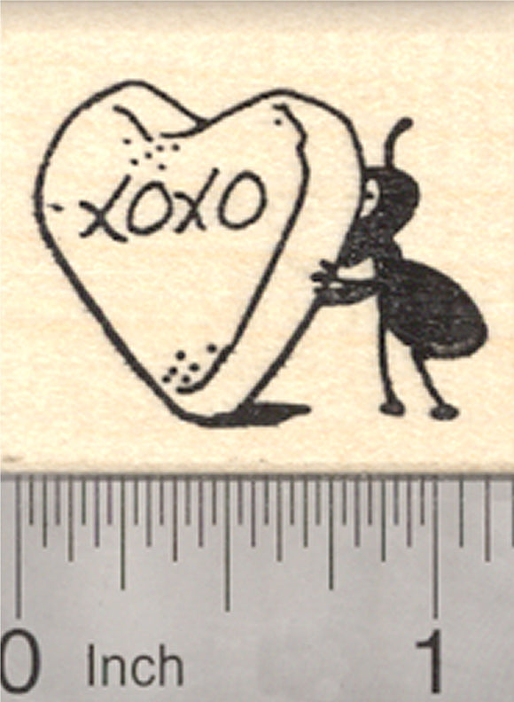 Valentine's Day Ant Rubber Stamp, with Heart Candy
