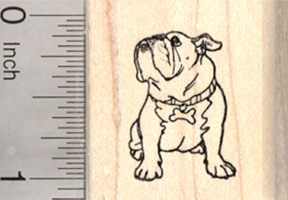 Bulldog Rubber Stamp, Dog, Small