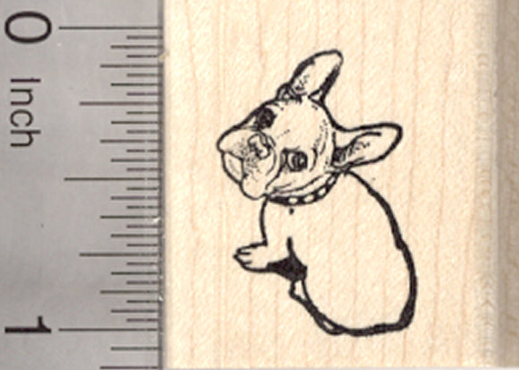 French Bulldog Rubber Stamp, Looking Up, Small