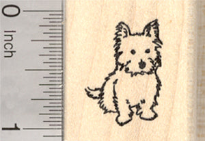 Terrier Dog Rubber Stamp, Yorkie, Westie, Cairn, Small