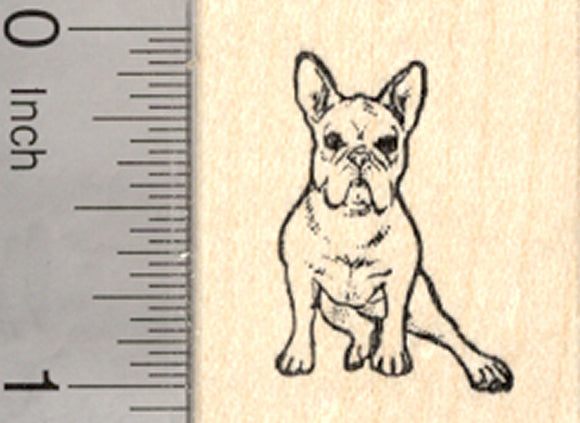 French Bulldog Rubber Stamp, Sitting, Small