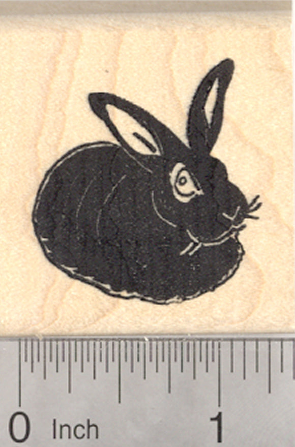 Black Rabbit Rubber Stamp, House Pet, Bunny