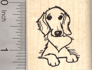 Valentine's Day Dachshund Rubber Stamp, Dog with Heart in Mouth, Portrait