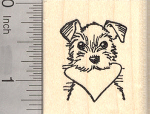 Valentine's Day Terrier Rubber Stamp, Dog with Heart in Mouth