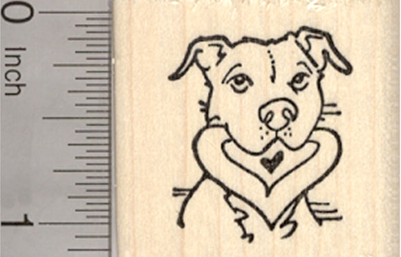 Pitbull Valentine Rubber Stamp, Dog with Heart in Mouth, Staffordshire Terrier