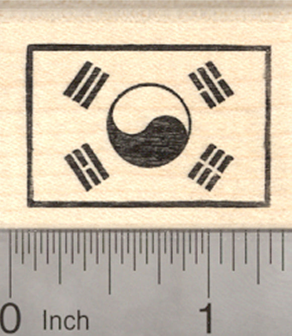 Flag of South Korea Rubber Stamp, Taegukgi