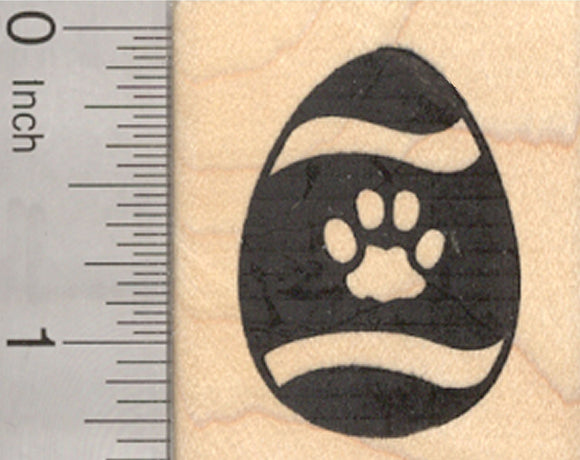 Easter Egg Rubber Stamp, with Pet Paw Print Design, Dog or Cat